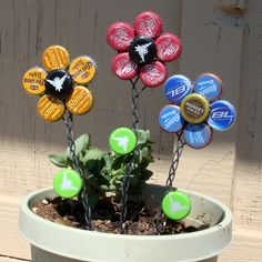 Bottle Cap Flowers ..picture for idea...
