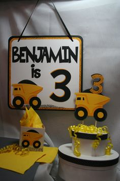 Birthday Party Favor Boxes - Toy Truck, Dump Truck, Construction Theme. $10.00, via Etsy.
