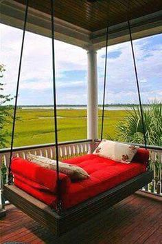 porch swing bed hanging porch swing bed plans swing beds plans red hanging porch bed porch swing beds plans home design games Outdoor Hanging Bed, Hanging Beds, Outdoor Beds, Hanging Porch Bed, Outdoor Pergola, Diy Hanging, Outdoor Furniture, Furniture Ideas, Outdoor Swings
