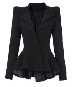 Lookbookstore Women Double Notch Lapel Sharp Shoulder Pad Asymmetry Blazer: Clothing