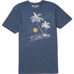 Billabong Unisex Permanent Vacation Tee ($25) ❤ liked on Polyvore featuring tops, t-shirts, dark blue, t-shirt/prints, print t shirts, print tops, blue top, blue t shirt and blue print top