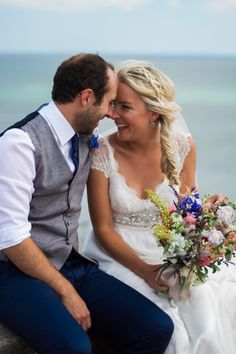 Bride and groom portrait at Berryhead, Brixham