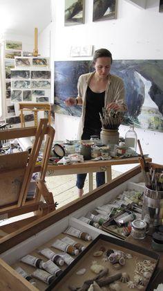 Sarah Adams, landscape artist in her art studio #workspace.