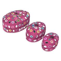 Indian Gift Home Decor Pink Oval Shape Jewellery Boxes Handmade Lac Beaded Material Table Top Vintage Style Decorative Box Set of 3 Pcs Antique Pill Box DakshCraft http://www.amazon.co.uk/dp/B00ASIRSCC/ref=cm_sw_r_pi_dp_oCLfwb1PAQC0P