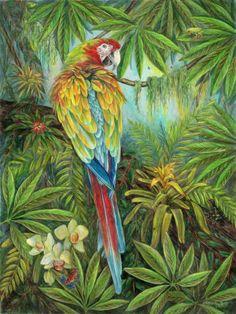 Green Parrot in Kapok Jungle - Art by Glenda Mullins Jungle Art, Caribbean Art, China Painting, Bedroom Art, Bird Art, Watercolor Paintings, Watercolors, Painting Inspiration, Parrot