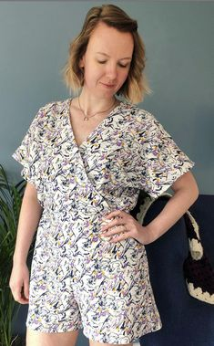 Adelle's Safiya Wrap Playsuit - Sewing Pattern by Tilly and the Buttons Tilly And The Buttons, Dressmaking, Make It Simple, Floral Tops, Sewing Patterns, Photo And Video, Blouse, How To Make
