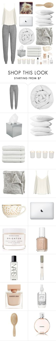 """""""Lazy day"""" by lonelyfruitsnak ❤ liked on Polyvore featuring Sweaty Betty, The Fine Bedding Company, Decor Walther, Linum Home Textiles, Witchery, Raey, H&M, Herbivore, Essie and NARS Cosmetics"""