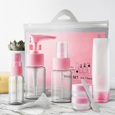 Order the Cosmetic Travel Bottle Set for travel, camping, spa or gym. Find useful travel gadgets and accessories at the Apollo Box marketplace. Cosmetic Containers, Cosmetic Bottles, Travel Kits, Packing Tips For Travel, Travel Essentials, Apollo Box, Best Travel Accessories, Mini Makeup, Travel Bottles