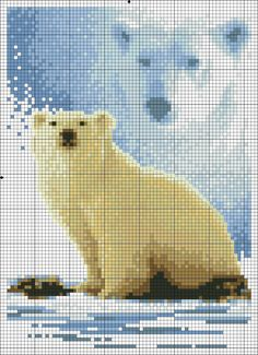 Cross stitch *<3* Point de croix Ours polaire #ourspolaire