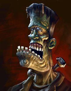 A professional artist for over 15 years. I love all things horror and I love to draw monsters. Arte Horror, Horror Art, Frankenstein Art, Zombie Art, Desenho Tattoo, Classic Monsters, Lowbrow Art, Monster Art, Halloween Art