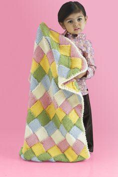 Free Knitting Pattern 90235AD Bright Blocks Blanket : Lion Brand Yarn Company