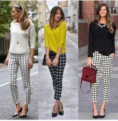 Calça quadriculada em preto e branco, uma ótima opção para o ambiente de trabalho por se tratar de uma peça clássica♡