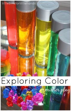 Simple color play is fun on a mirror. Make rainbow sensory bottles and add other colorful objects for exploring reflection with light and color play! Rainbow Activities, Kids Learning Activities, Color Activities, Sensory Activities, Sensory Play, Rainbow Crafts, Sensory Motor, Learning Time, Infant Activities