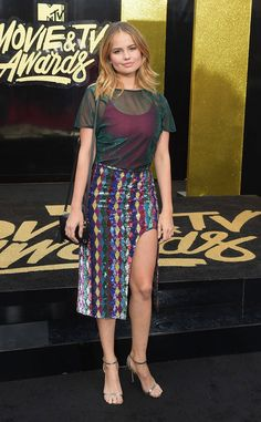 Debby Ryan from MTV Movie & TV Awards 2017: Red Carpet Arrivals The former Disney Channel starlet mixes prints and fabrics for the night ahead.