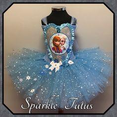 Frozen Elsa And Anna Tutu, Handmade Fancy Dress Princess Costume Sparkle - 9-10
