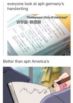 Hetalia - America's handwriting xD>> Don't tell me the fandom thought America actually took notes?