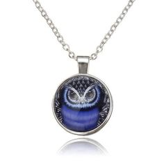 Lovely Owl Glass Cabochon Silver Plated Chain Pendant Necklace Unisex