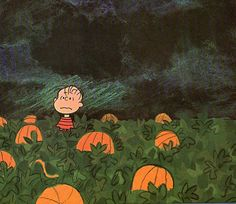 """Linus in the pumpkin patch. """"The Great Pumpkin Charlie Brown"""" Love it! Snoopy Halloween, Charlie Brown Halloween, Great Pumpkin Charlie Brown, It's The Great Pumpkin, Charlie Brown And Snoopy, Halloween Art, Vintage Halloween, Happy Halloween, Halloween Images"""