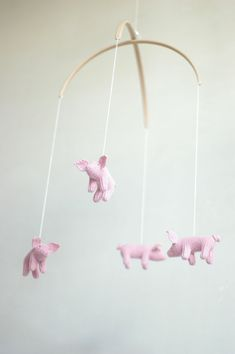 READY TO SHIP - nursery mobile - baby crib mobile - Piglet  mobile - made to order