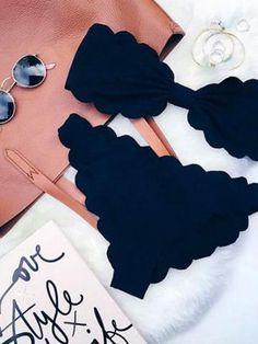 Bandeau Scallop Edge Ruched Padded Bikini Set Black/Red - MYNYstyle - 1