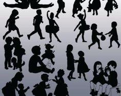 Kinder bei Spiel Digital Collage Sheet von Silhouette Bilder