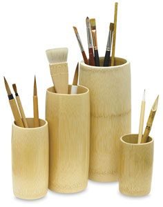 super cool bamboo brush holders various sizes, $2.15- $4.89