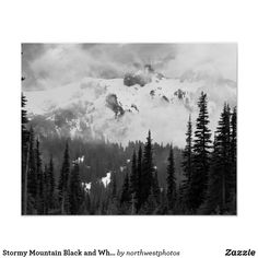 Stormy Mountain Black and White Landscape Poster