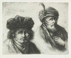 Jan Chalon | Twee onbekende mannen, Jan Chalon, 1789 | Het linkerportret is van een onbekende volwassen man met een hoed. Buste frontaal. Het rechterportret is van een oude man met een baard en een tulband. Buste naar rechts.