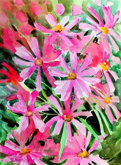 garden flowers, original watercolor painting, 12 X 9in, floral garden ...