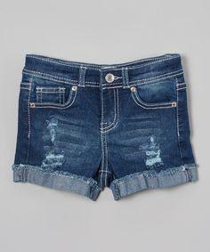 Another great find on #zulily! MiniMOCA Medium Blue Distressed Denim Shorts - Girls by MiniMOCA #zulilyfinds