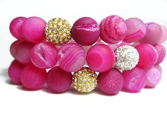 I LOVE THESE BEADS! // Pink Druzy Agate Stretch Beaded Bracelet with Gold or Silver Pave Rhinestone Ball Bead Stackable Gemstone Bracelet. $19.00, via Etsy.