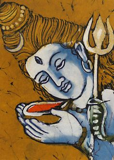 Lord drinking poison to save Devas and Asuras