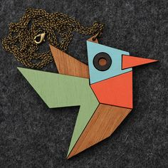 Geometric Hummingbird Necklace by bRainbowshop on Etsy, $55.00
