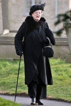 Behind the scenes: Downton Abbey Season 4 filming: Dame Maggie Smith as Violet Crawley, Dowager Countess of Grantham.