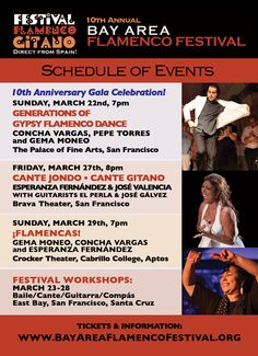 The Bay Area Flamenco Festival will feature Spain's top dancers and musicians for a week of special events this spring (March-22-29) in celebration of the Festival's 10th Anniversary. Featured artists direct from Spain include dancers Concha Vargas, Pepe Torres and Gema Moneo and singers Esperanza Fernández and José Valencia.