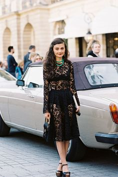 Love this lace dress on Natalia - it is dark, glamorous, opulent, seductive - and an early nod to the Gothic trend for the coming season. I would love to see this dress dressed down with biker boots for day....