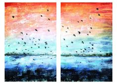 """In Flight"" Acrylic on Canvas Wall Nails, Sunset Canvas, Hand Painting Art, Abstract Landscape, Original Art, Hand Painted, Artwork, Artist, Loft"
