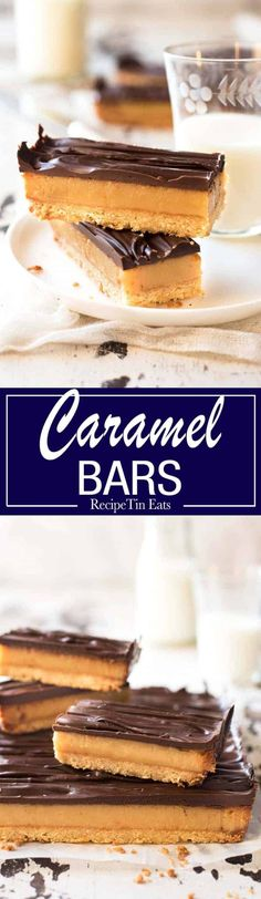 A caramel slice recipe that's easy to make and works as promised - a creamy caramel filling and chooclate that doesn't crack when you cut into it! Caramel Recipes, Candy Recipes, Sweet Recipes, Baking Recipes, Cookie Recipes, Bar Recipes, Vegan Recipes, Dinner Recipes, Desert Recipes