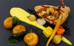 Chicken Breast with Corn Puree, Pommes Dauphine, Glazed Root ...