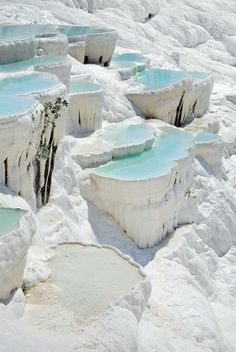 White calcium cascades and petrified waterfalls in Turkey