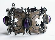 Early Taxco Silver Bracelet Handcrafted Fine 980 Grade Panel Link Amethyst Cab