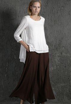 White Linen Shirt with longer backswing