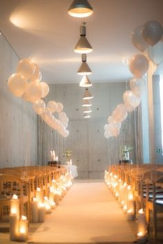 Candlelight & balloons wedding ceremony | SouthBound Bride | http://www.southboundbride.com/winter-white-waterkloof-wedding-abri-kruger-nikki-gary | Credit: Abri Kruger