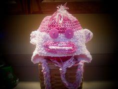 Breast Cancer Awareness Sock Monkey Hat