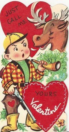 Vintage Valentine - moose and hunter