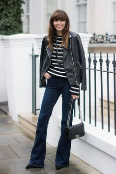 The Exact Fall Jacket to Wear With Every Pair of Jeans You Own. Flares + A Leather Jacket With their leg-lengthening style, flares work best with a cropped silhouette on top. Balance the tailored leg with an edgy leather moto jacket.