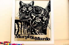 Personalised Cats Portrait Papercut in a Floating Frame