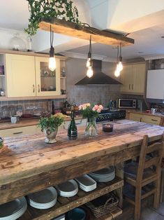Kitchen Island Storage, Farmhouse Kitchen Island, Kitchen Island Decor, Modern Kitchen Island, Kitchen Layout, Home Decor Kitchen, Kitchen Interior, New Kitchen, Industrial Kitchen Island