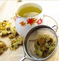 How to Make Chrysanthemum Tea. Chrysanthemum contains Adenline Choine Stachydrine which is natural fragrant oil that provides herbal remedies for inflammatory, head ache, eyes pain, and indigestion. It also used as home treatment for coronary heart disease, kidney stone, infection, high blood pressure, asthma, and skin and nerve diseases.