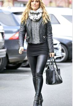 Black leather jacket, sweater, knit miniskirt, and black leather leggings street style
